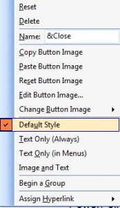 Default Style will create a Close file icon